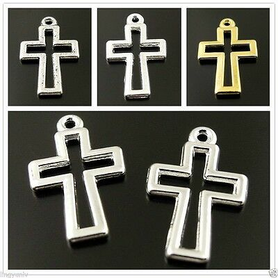 100pcs Assorted Colors Vintage Style Alloy Hollow Cross Pendant Charm Pray Bless