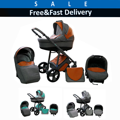 Baby pram pushchair buggy stroller 3in1 travel system and car seat freebies