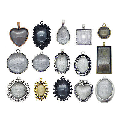 20pcs  38391 Pendants Mixed Tone Alloy Setting Tray Base Charms Crafts Findings
