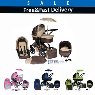 Pram and Baby Stroller Complete Travel System Pushchair Carrycot Buggy Car Seat