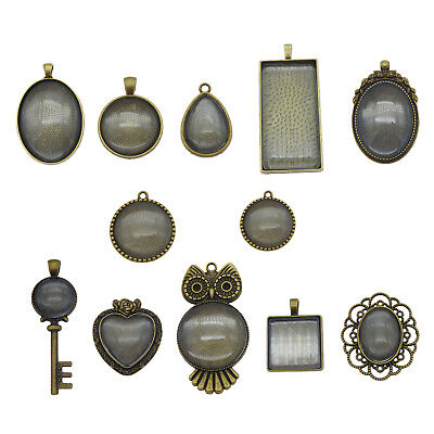 10 Sets Retro Bronze Round Oval Mixed Cameo Base With Glass Alloy Pendant Charms