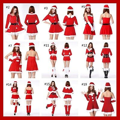 Fashion Women Santa Claus Christmas Costume Party Girls Outfit A Suit Of Dress