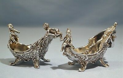Kaiser & Walter Early 20th Century Pair of Sterling Silver Figural Spice Dishes