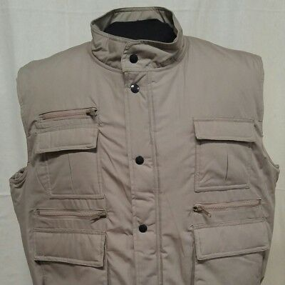Timber Trail Mens Sz XL Vest Beige Zip Snap Front 9 Pockets Winter Polyfill NWOT