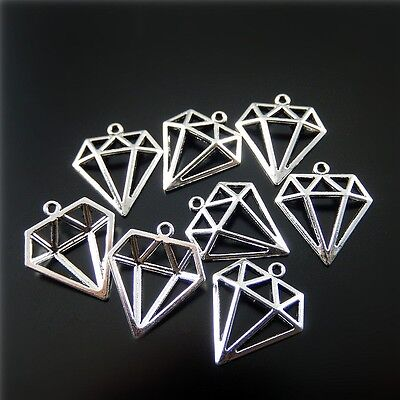Silver Tone Alloy Hollow Diamond Shaped Pendant Charms Jewelry Findings 50pcs