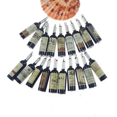 19pcs Black&Silver Color Resin Red Wine Bottle Shaped Pendant Charms Jewelry