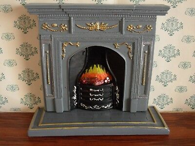 Lovely Resin Grey Fireplace with Hearth for the DOLLS HOUSE