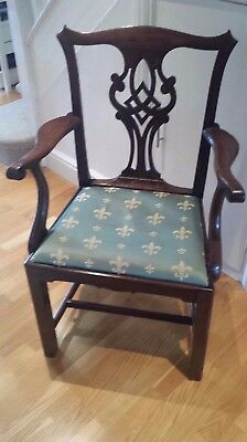 Antique Oak Chippendale Style Open Arm Chair