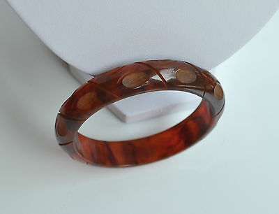 ART DECO hand carved SWIRL ROOT BEER PRYSTAL BAKELITE BANGLE BRACELET tested