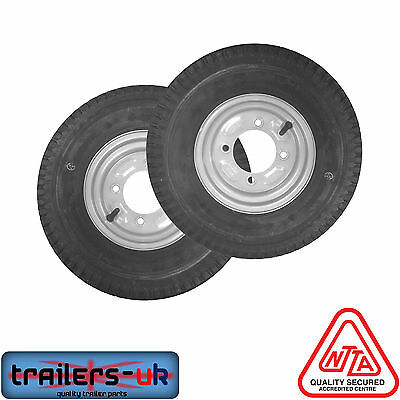 A pair 400x8 inch 4.80 / 4.00 x 8 trailer wheels with 115mm PCD - Erde / Daxara