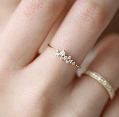 Fashion Women 14K Solid Rose Gold Stack Twisted Ring Wedding Party Women Jewelry