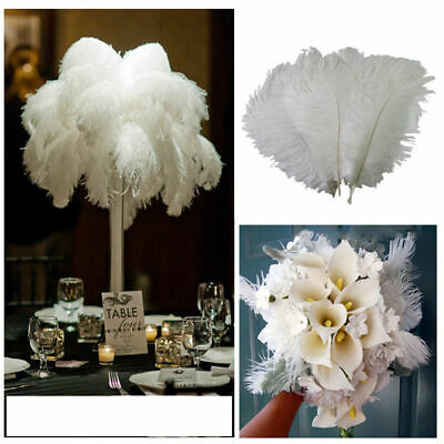 10-50pcs Quanlity Beautiful natural ostrich feathers 6-8 inches /15-20cm f/White