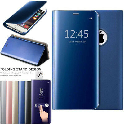 For Samsung Galaxy A6 A8 Plus 2018 Smart View Mirror Case Leather Flip Cover