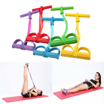 Foot Pedal Pull Rope Resistance Exercise 4-Tube Yoga Equipment Sit-up Fitness
