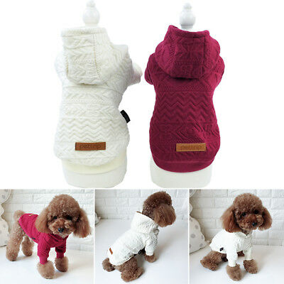 Dog Clothes Winter Apparel Pet Puppy Warm Hoodie Jumper Sweater Coat Jacket S-XL