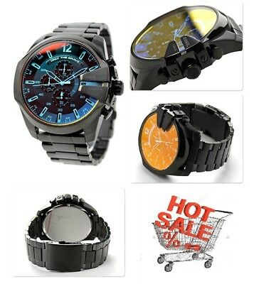 New Genuine Diesel Dz4318 Black Ion-Plated Mega Chief Chronograph Mens Watch
