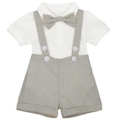 3PCS Newborn Baby Boy Gentleman Suit Suspender Short Pants Romper Bowtie Outfits