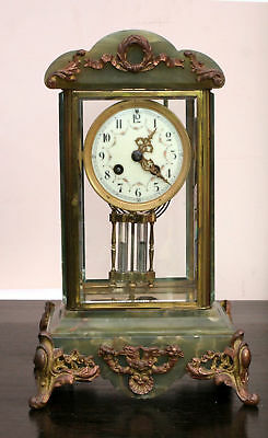 Beautiful antique chiming crystal regulator marble and brass mantle clock