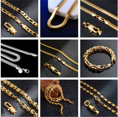 18k Gold Filled Silver Necklace Bracelet Chain 8'-20'Long Unisex Jewelry