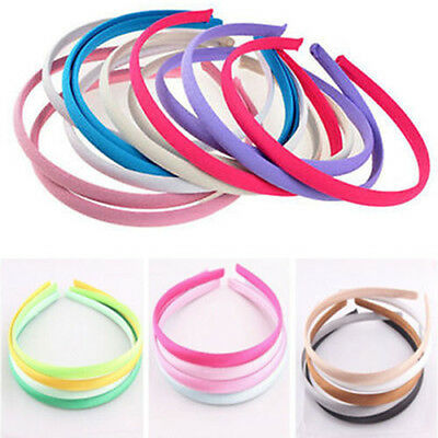 10x. 10mm Colored Covered Satin Headband Plastic Hair Accessory Wholesale