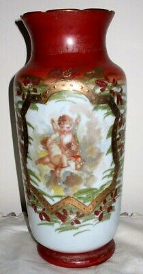 Victorian Milk Glass Vase, Hand Painted Cherubs & Gold Overlay