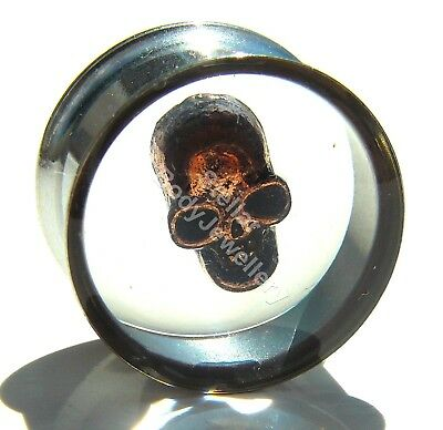 1 x Stainless Steel Double Flare Skull Ear Tunnel Plug 12mm - 25mm