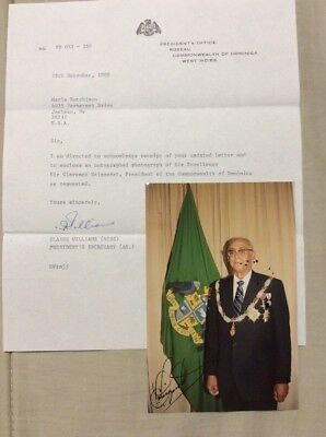 Sir Clarence Seignoret Signed Photo President Of Domnica