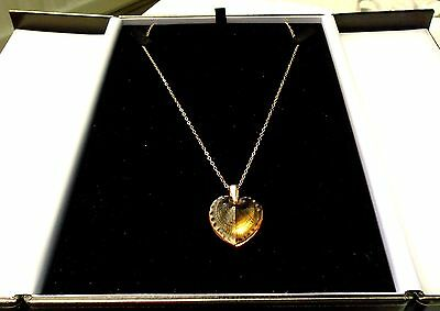 Lalique Telline Large Heart 9Ct Gold Chain Fresh Beautiful Colour Amber Stunning