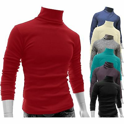 New Mens Polo Roll Turtle Neck Pullover Knitted Jumper Funnel Neck Tops Sweater