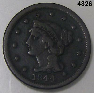 1844 Braided Hair Large Cent Fine Condition #4826
