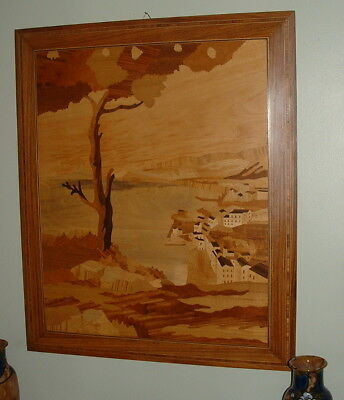 Stunning Large Art Deco Marquetry Woodenware Picture Coastal Scene Inlaid Frame