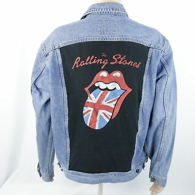 4ab4c32dc9 Rolling Stones Jean Denim Jacket Lee Warhol Tongue Logo Trucker Blue Mens  Large