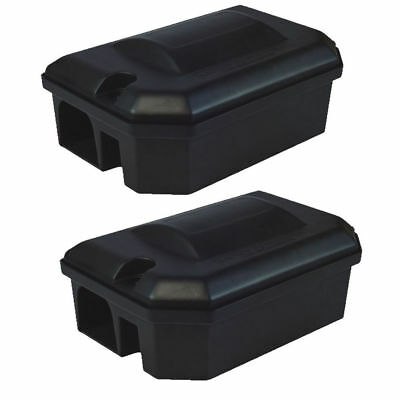 2 X PROFESSIONAL RODENT BAIT STATION BOX ONLY -NO TRAP Block Bait Rat Mouse Mice