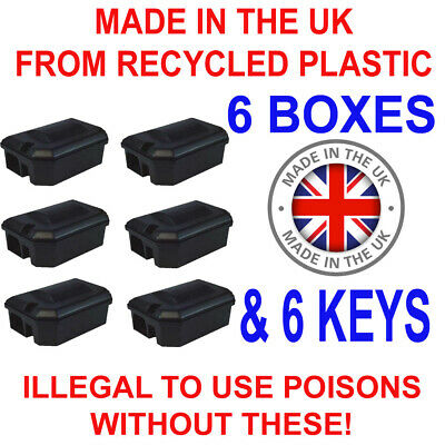 6 X PROFESSIONAL RODENT BAIT STATION BOX ONLY -NO TRAP Block Bait Rat Mouse Mice