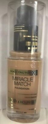 Max Factor Miracle Match Foundation Blur & Nourish 30ml /Bronze 80/ Sealed