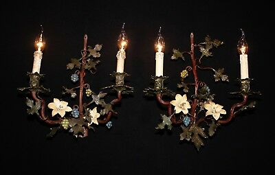 Antique large French bronze painted grapes – leaves and flower sconces France