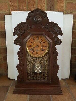 Antique  American 1890/1900  Gingerbread clock  - just serviced, gongs nicely !!