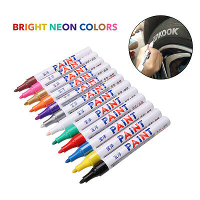 12-pack Assorted Metallic Paint Pen Marker Tire Markers Set of 12 Colors Pens