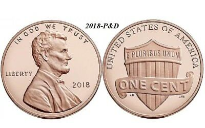 2018  P & D   Lincoln Shield Cents - BU (two coins)