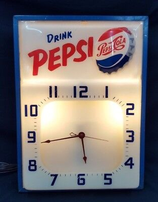 Vintage 1957 Large Square Drink Pepsi-Cola Electrical Wall Clock