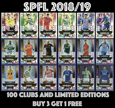 Match Attax Spfl 2018/2019 18/19 100 Clubs And Limited 2018/19