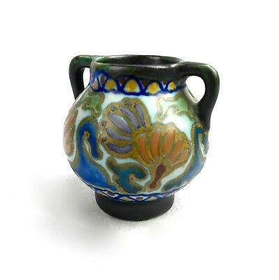Art Deco Antique Gouda Pottery Vase / Jug / Blue / Green / Purple / 1918