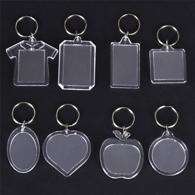 5PCs Transparent Blank Insert Photo Picture Frame Keyring Key Chain DIY Gift NIU