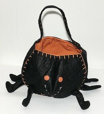 Pottery Barn Kids PBK Black Spider Halloween Candy Treat Bag Pail Bucket SO CUTE