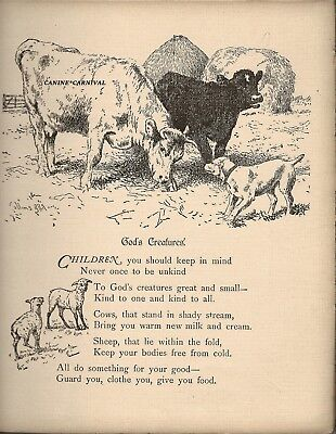 VICTORIAN BE KIND TO ALL CREATURES VERSE POEM BEAUTIFUL Vintage Art Print  1887