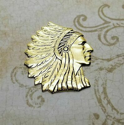 1 Large Oxidized Brass Indian Chief Stamping BOGB0338