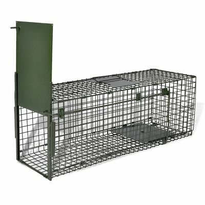 Outdoor Steel Live Catch Trap with 1 Door Humane Cat Fox Trap Small Mesh Holes