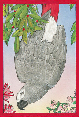 African Grey Parrot Christmas Cards Set of 10 cards & 10 envelopes