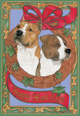 American Staffordshire Terrier Amstaff Christmas Cards Set of 10 cards & 10 enve