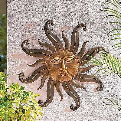 Sun Face Wall Decor Radiant Celestial Sunburst Metal Sculpture Home & Garden Art